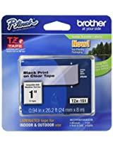 Brother Tape 1-inch, Black on Clear (TZe151)