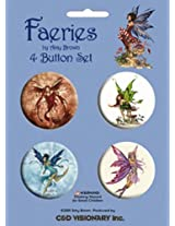 "Licenses Products Amy Brown - Fire Element, Thinking of You, Water Element, Fox Glove 1.5"" Button Set, 4-Piece"