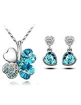 Elegant Austrian Crystal Lucky Clover Capri Blue Pendant & Earring Set - By ETERNO FASHIONS(TM)