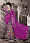 Purple Faux Georgette Half N Half Saree