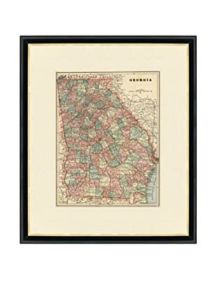 Vintage Print Gallery Antique Georgia Map, 1892-1895