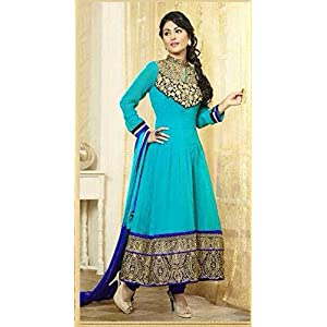 Heena Khan Cyan Anarkali Suit