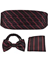 PenSee Formal Red & Black Stripe Pre-tied Bow Tie & Pocket Square & Cummerbund Set
