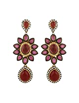 Dilan Jewels KNOWLEDGE Collection Pink Coloured Gold Plated Floral Earrings For Women