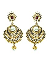 Surat Diamonds Ethnic Red, Green & White Stone & Gold Plated Hanging Earrings for Women (PSE4)