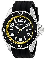 August Steiner Men's AS8099YL Swiss Quartz Yellow Accented Black Silicone Strap Watch