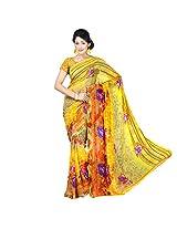 Chandra Silk Mills Women's Art Silk Saree (Yellow)