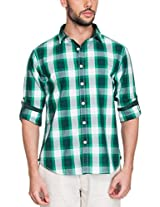 Zovi Cotton Slim Fit Casual White and Green Checkered Shirt with Printed Placket(11895503101_Large)