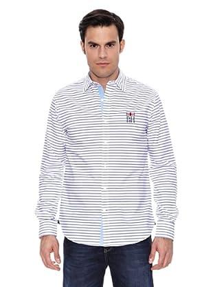 Pedro del Hierro Camisa Non Iron Sport Rayas Horizontales B Logo (Azul Marino)