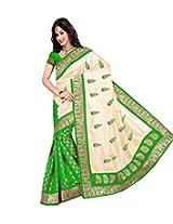 Janasya multicolor brasso sari with attractive border work