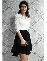Charming Belted Skater Mini Dress Clubwear