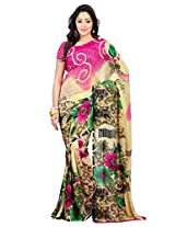 Admyrin Beige Georgette Saree with Pink Georgette Saree