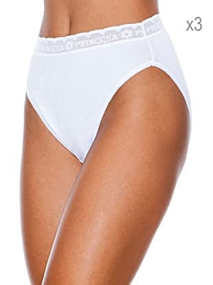 Princesa Pack x 3 Braguita Bikini De Algodón Lycra (Blanco)