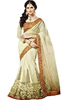 Cream Zari Patch Work Wedding Wear Indian Net Chiffon Lehenga Saree Sari