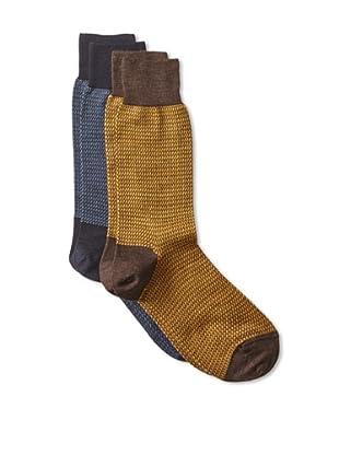 Punto Men's Wool Blend Socks (2 Pairs) (Navy/Brown)