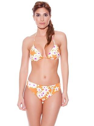 Teleno Bikini Cortina Con Foam Fluor (Naranja)