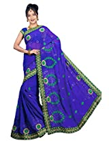 Chinco Embroidered Saree With Blouse Piece (501-D_Dark Blue)