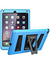 iPad Air 2 Case, i-Blason ArmorBox **Dual Layer** Protective Case for Apple iPad Air 2 (iPad 6) 9.7 Inch iOS 8 Tablet [Kickstand / with Bulit-in Screen Protector] for Kids Friendly - Blue /Black