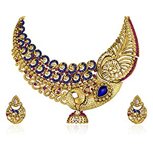 Zaveri Pearls Multicolor Non-Precious Metal Choker Necklace With Stud Earrring Set For Women