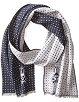 Psycho Bunny Men's Polka Dot Reversible Scarf, Navy, One Size