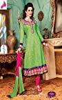 Cotton Jacquard Green Thread Work Unstitched Anarkali Suit
