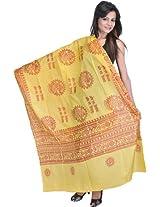 Exotic India Om Namah Shivai Prayer Shawl with Printed Nataraja - Yellow