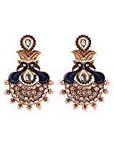 Ganapathy Gems 1 Gram Gold Plated Peacock Chandbali With Red Stones And Blue Enamel