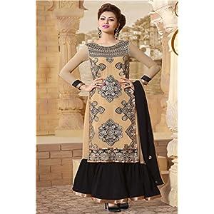 Cream Designer Embroidered Long Anarkali Suit