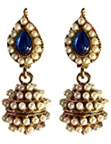 Dark Blue Leaf Pearl Jhumki Earring