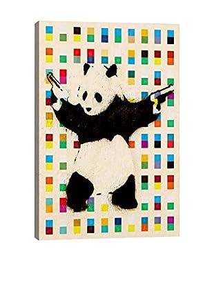 Banksy Panda With Guns Bright Dots Gallery Wrapped Canvas Print