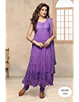 Beautiful Latest Hot Purple Stiched Anarkali Salwar Suit