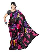 Chandra Silk Mills Stylish Floral Print Black Saree
