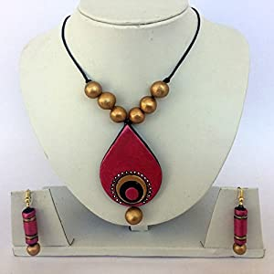 Anikalan Designs Golden Pink Duedrops Pendant Terracotta Necklace Set