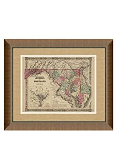 """Johnson and Ward Antique Map of Delaware & Maryland, 1860's, 24"""" x 26"""""""