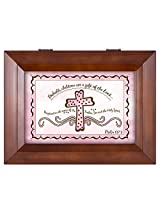 Baby Girl Baptism Cross Psalm 127:3 Wood Finish Jewelry Music Box - Plays Tune You Are My Sunshine