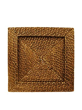 ChargeIt! by Jay Square Harvest Rattan Charger, Brown