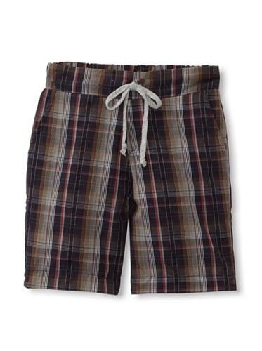 Peas and Queues Boy's Braden Shorts (Black Plaid)