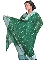 Exotic India Bandhani Tie-Dye Dupatta from Gujarat with Woven Border - Color Cadmium GreenColor Free Size