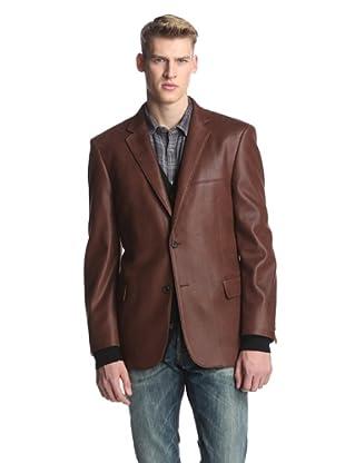 Profile Men's 2-Button Faux Leather Hybrid Blazer (Cognac)