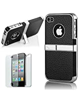 Pandamimi Leather Case for Apple iPhone 4 / 4s (Black)