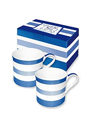Easy Life Design Set 2 Mug in Porcellana Bone China Happy Stripes (Blu)