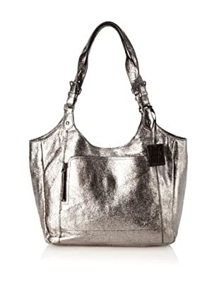OH by Joy Gryson Women's Unzipped Metallic Leather Shopper, Metallic Anthracite
