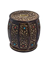 Craft Art India Handcrafted Wooden Money Bank /Piggy Bank / Coin Box in Barrel Shape with beautiful Carving