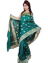 Cadmium-Green Banarasi Sari with Large Woven Bootis and Floral Border - Pure ...
