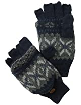 Muk Luks Men's Nordic Flip Mittens, Navy/Grey, One Size