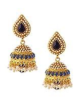 Adiva indian vintage jewelry - elegant outstanding jhumka in pearl & blue stones rj34brj34b