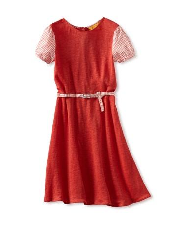 Zolima Girl's Belted Dress (Papaya Red)