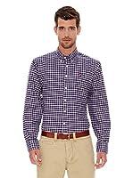Spagnolo Camisa Oxford Botón (Azul / Marrón)