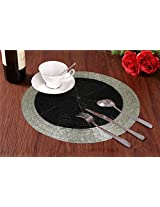 Set of 2 - Black Silver Beaded Placemat for Round Table - Handmade Glass Beaded Placemat - Dia 8 Inches