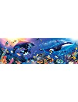 Master Pieces Puzzle Company Dynamic Orcas Panoramic Jigsaw Puzzle (1000 Piece), Art By Christian Lassen By Master Pieces